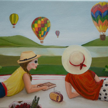 Original Oil Painting, Still Life Painting, Summer Picnic Painting, Retro Painting, Hot Air Balloons,Countryside,Vintage,Oil on Canvas, 9x12