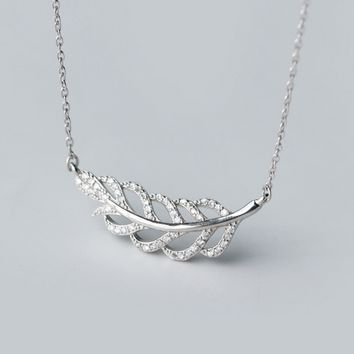 Personalized inlaid zircon feather 925 Sterling Silver  necklace