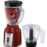 Oster BCCG08-RFP-NP9 8-Speed Blender with Food Processor Attachment, Metallic Red