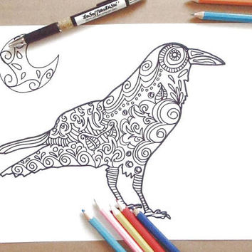 raven coloring page the crow adults horror goth download colouring halloween bird gothic printable print digital halloween lasoffittadiste