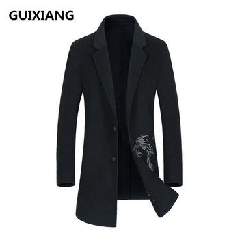 GUIXIANG 2017 Men's fashion double-faced woolen trench coat jacket Men's casual woolen embroidered jackets wool men coat