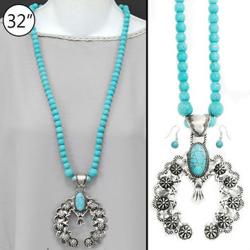 Turquoise And Silver Long Squash Blossom Necklace