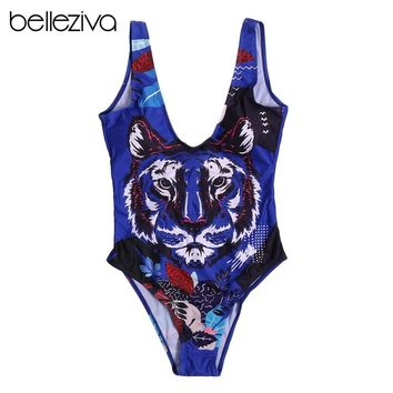 Belleziva Sexy One Piece Swimsuit Women Push Up Tiger 3D Print Swimwear High Cut Low Back Swimsuit Beach Bathing Suit Monokinis