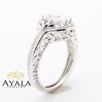 Unique Oval Diamond Engagement Ring in 14K White Gold Unique Halo Ring Art Deco
