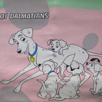 Vintage Disney 101 Dalmatians TWIN Size Bed Duvet Cover Kids Bedding Pastel Pink Green Grey Girl Craft Fabric Used Clean RARE