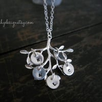 Family Tree Necklace,Personalized-Silver Necklace,Family Initials,Gift to,Mother,Mom,Nana,Mama,Personalized initial,Grand ma necklace