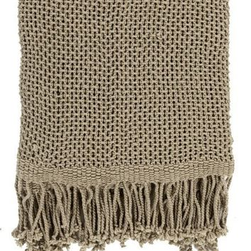 Harbor Cotton Khaki Brown Throw Blanket