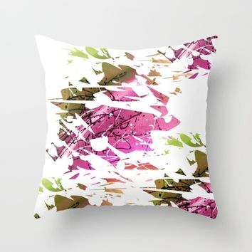Abstract Acrylic Painting Broken Glass PURPLE AND GREEN Throw Pillow by Saribelle Inspirational Art | Society6