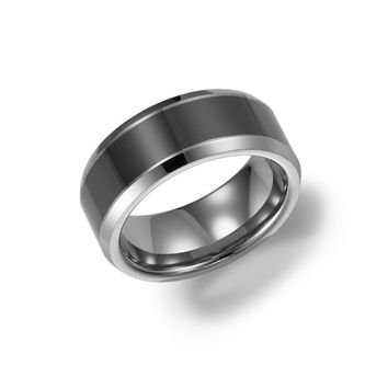 8mm wide tungsten carbide mens wedding band with ceramic inlay