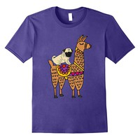 SmileteesPets Funny Pug Dog riding Llama Cartoon T-shirt
