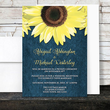 Rustic Sunflower Denim Reception Only Invitations and RSVP - Yellow Blue