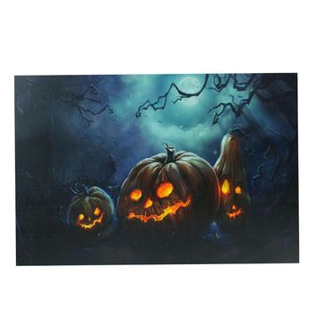 "LED Lighted Spooky Halloween Jack-O-Lanterns Canvas Wall Art 15.75"" x 23.5"""