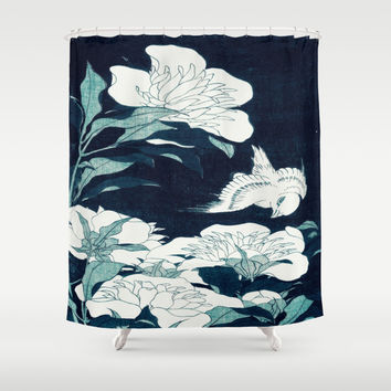 JAPANESE FLOWERS Shower Curtain by PureVintageLove