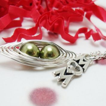 Peas in a Pod Necklace with Mom Charm