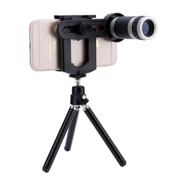 Universal 8x Zoom Telescope Camera Lens +Mobile Phone Mount Tripod Stand Holder For iPhone for Samsung Android Phone Top Quality