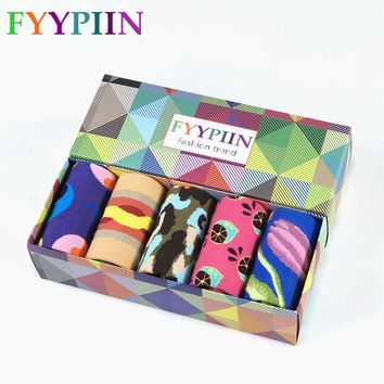 Sock Standard Sokken Rushed Real 2018 Latest Gift Box Set Men's Happy Colorful Christmas Combed Cotton Novel Party Men 5 Pairs