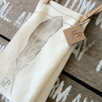 Feather  Organic Tea Towel by RinconRoad on Etsy