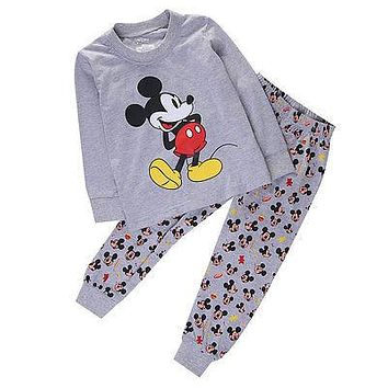 2pcs Spring&Autumn Cartoon Mickey Mouse Baby Boys Girl Kids Cotton Long Sleeve Homewear Sleepwear Pyjamas set Outfit Clothes