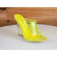"""CR Jelly Drop Clear Yellow Lucite 3.5"""" High Heel Slip On Wedge Sandal"""