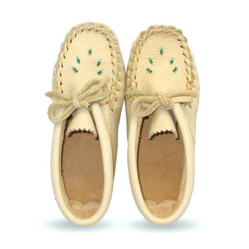 Beaded Children's Moose Hide Leather Moccasins - 4337-C