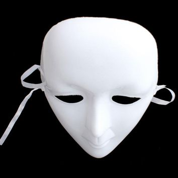 White Unpainted Mask Ball Party Costume Mask Full Face Masquerade