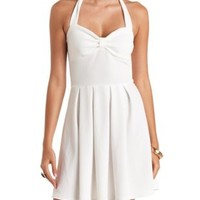 Textured & Pleated Halter Skater Dress by Charlotte Russe - White