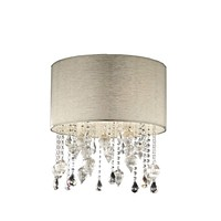 Elegant Crystal and blown glass design lamp with ivory shade and silver sparks details