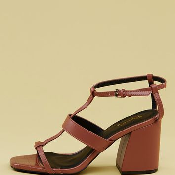 Open Square Toe Multi Strap Chunky Heel Sandals