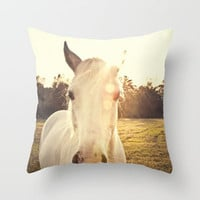 Sunlit Horse Throw Pillow by Erin Johnson