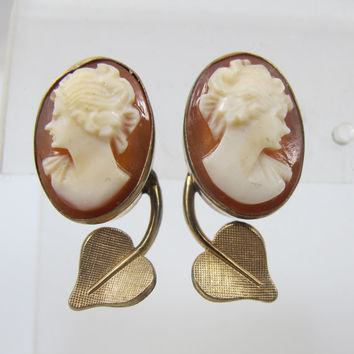 Van Dell Cameo Earrings Screw Back 12K Gold Filled Vintage Carved Cameo Jewelry