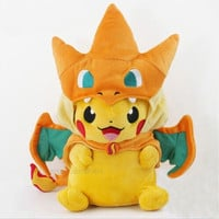 New Pokemon Pikachu With Charizard hat Plush Soft Toy Stuffed Animal Doll (Size: 2) [8833424588]