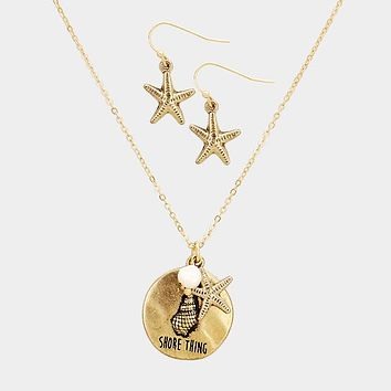 """""""Its A Shore Thing"""" Charms Shell Metal Disc Necklace"""