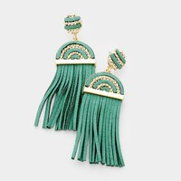 Dramatic Statement Suede Tassel Fringe Earrings