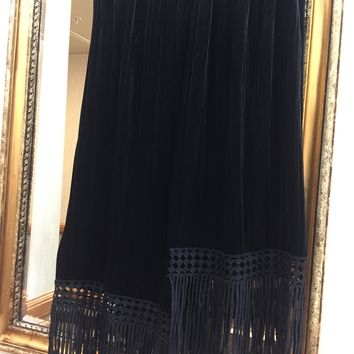 "Black Victorian Skirt '24"" stretchy waist' (Handmade and Customized w Tassel Designs🔥🔥"
