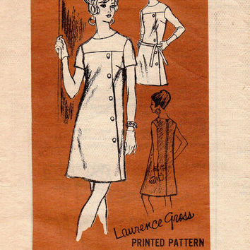 Prominent Designer A626 Laurence Gross 60s Sewing Pattern Mod Retro Party Dress Colorblock Asymmetrical Off Side Front Coatdress Bust 34