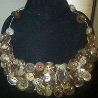 Brown and Beige Button and Wire Camail  Necklace