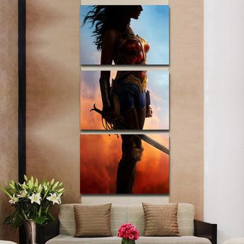 Wonder Woman Wall Art On Canvas - Spectacular 3 Pieces By Israeli Actress Gal Gadot