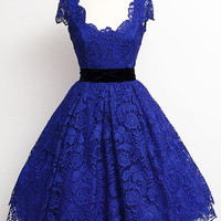 Blue Lace Homecoming Dress for Homecoming