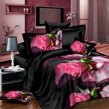 Polyester 4Pcs 3D Printing Bedding Set Quilt Cover Bedsheet Pillowcases Rose Flower Tree Bedding Home Room Textiles Decoration