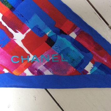 Chanel silk scarf with colourfulbright blue and red abstract design