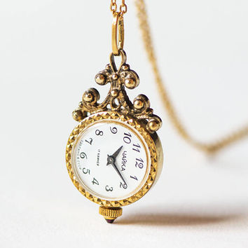 Unique watch necklace Seagull, floral design watch pendant, gold plated small watch necklace, romantic watch pendant rare, girlfriend's gift