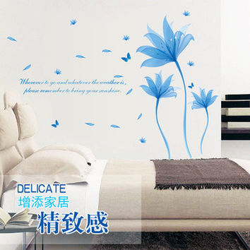 Blue dream flower can remove the wall stickers Bedroom, living room sofa decorative wall stickers in the background SM6