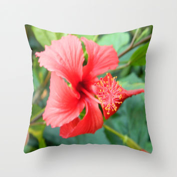 Hibiscus Throw Pillow by Kelli Schneider