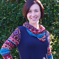 Navy Coral Knit Top with aztec neck and sleeves