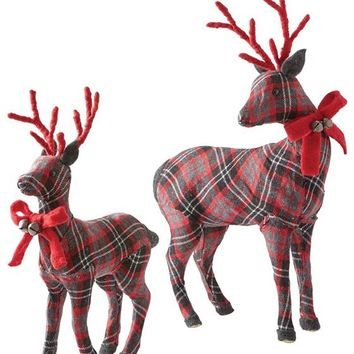 Martha Stewart Living™ Plaid Deer Duo - Set of 2 - Holiday Decor - Holiday Decorations - Wildlife Decor | HomeDecorators.com
