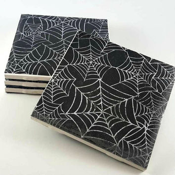 Spiderweb Coasters - Spider Decor - Halloween Coasters - Handmade Coasters - Gothic Home Decor - Drink Coasters - Gothic Decor
