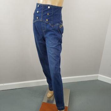 High Waisted Sailor Jeans Fabulosity Women's Sz 13 Blue Stretch Skinny Jeans