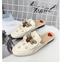 "Hot Sale ""Gucci"" Trending Women Stylish Personality Bee Pearl Half Slipper Sandal Shoes White"