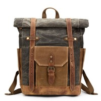 Waxed Canvas with Leather Trim Expandable Backpack