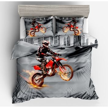 2018 Luxury 3D Motorcycle Printed Bedding Set Quilt Duvet Cover Sets ( US Twin Full Queen King UK Single  Double King  GER Size